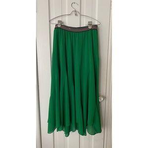 Anthropologie Green Handkerchief Maxi Skirt